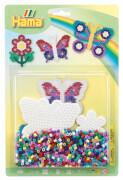 HAMA Bügelperlen Stiftplatten + Perlen Schmetterlinge 1.100 Stück
